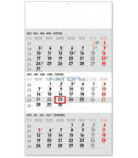 Nástenný kalendár 3mesačný štandard šedý – so slovenskými menami SK 2021, 29,5 × 43 cm