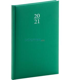Týždenný diár Capys 2021, zelený, 15 × 21 cm