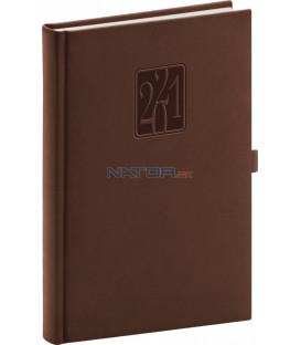 Denný diár Vivella Classic 2021, hnedý, 15 × 21 cm