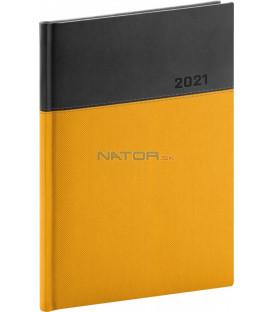 Denný diár Dado 2021, žlto-čierny, 15 × 21 cm
