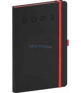 Týždenný diár Nox 2021, čierny-červený, 15 × 21 cm