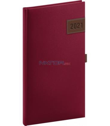 Vreckový diár Tarbes 2021, červený, 9 × 15,5 cm