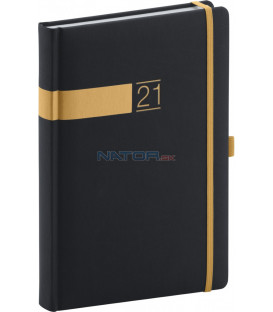 Denný diár Twill 2021, čierno-zlatý, 15 × 21 cm