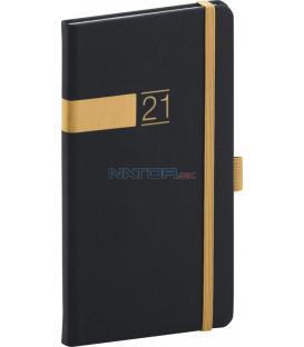 Vreckový diár Twill 2021, čierno-zlatý, 9 × 15,5 cm