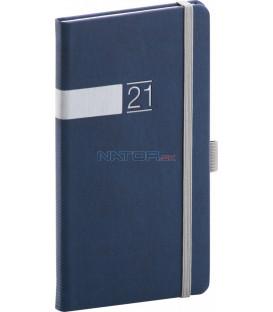 Vreckový diár Twill 2021, modro-strieborný, 9 × 15,5 cm