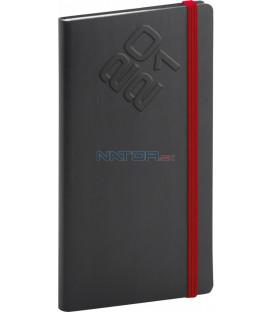 Vreckový diár Matra 2021, čierno-červený, 9 × 15,5 cm