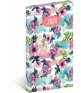 Vreckový diár Cambio Fun 2021, Kvety, 9 × 15,5 cm