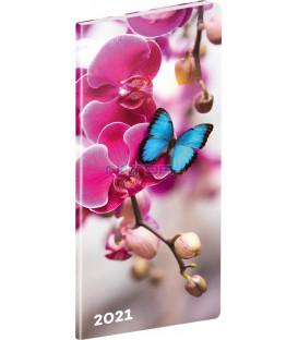 Vreckový diár Motýle SK 2021, plánovací mesačný, 8 × 18 cm
