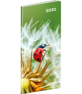 Vreckový diár Lienka SK 2021, plánovací mesačný, 8 × 18 cm