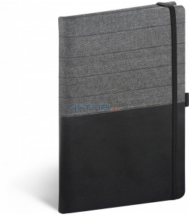 Notebook Skiver, čiernosivý, linajkovaný, 13 × 21 cm