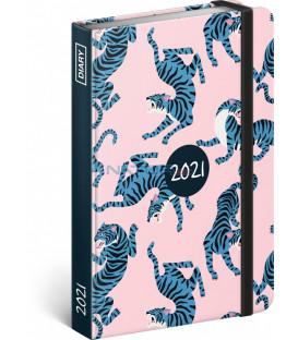 Týždenný diár Blue Tiger 2021, 11 × 16 cm