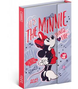 Týždenný magnetický diár Minnie 2021, 11 × 16 cm
