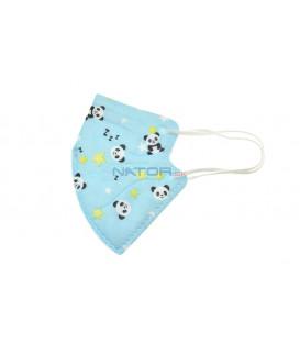 Detský respirátor FFP2 NR MY-002 - Modrý s pandou, BALENIE 3 KS