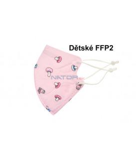 Detský respirátor FFP2 NR MY-002 - Ružový s hubičkami BALENIE 3 KS