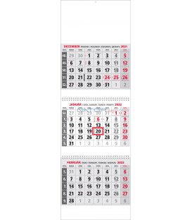 Trojmesačný Kalendár Klasik 3M Sivý 2022