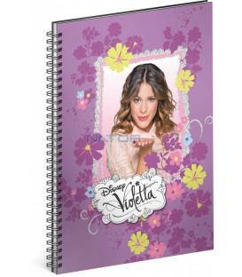 Špirálový blok Violetta – Flowers linajkovaný A5