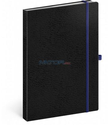 Notes Vivella Classic čierny/modrý linajkovaný 15 × 21 cm