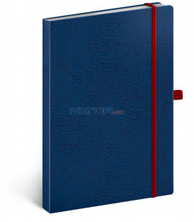 Notes Vivella Classic modrý/červený bodkovaný 15 × 21 cm