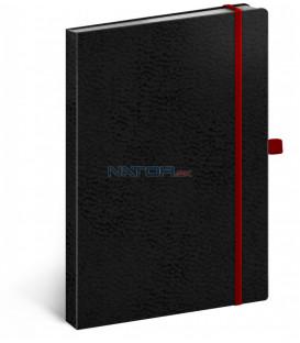 Notes Vivella Classic čierny/červený bodkovaný 15 × 21 cm