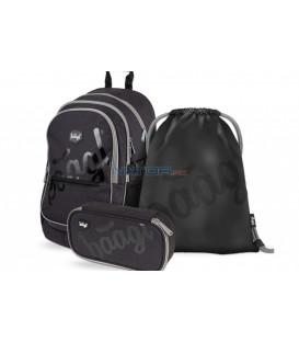 BAAGL SET 3 Black: batoh penál sáček