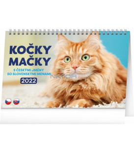 Stolový kalendár Kočky – Mačky CZ/SK 2022 231 × 145 cm