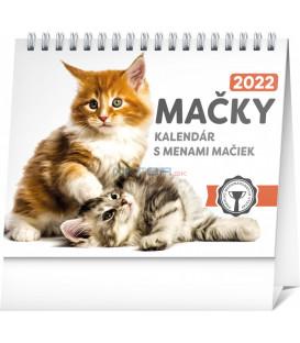 Stolový kalendár Mačky – s menami mačiek 2022 165 × 13 cm