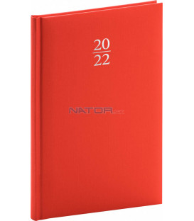 Týždenný diár Capys 2022 červený 15 × 21 cm