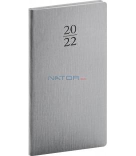 Vreckový diár Capys 2022 strieborný 9 × 155 cm