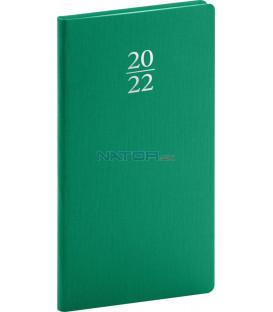 Vreckový diár Capys 2022 zelený 9 × 155 cm