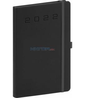 Týždenný diár Nox 2022 čierny–čierny 15 × 21 cm