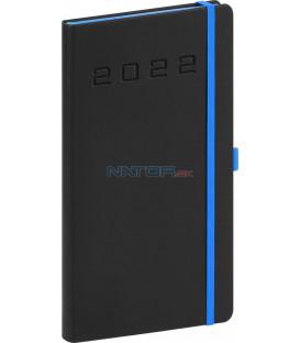 Vreckový diár Nox 2022 čierny–modrý 9 × 155 cm