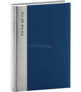 Denný diár Dakar 2022 strieborno–modrý 15 × 21 cm