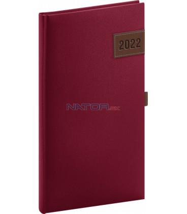 Vreckový diár Tarbes 2022 červený 9 × 155 cm