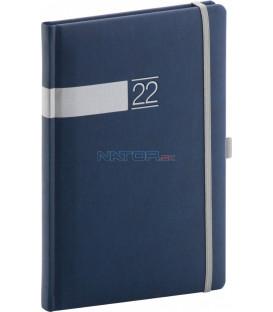 Týždenný diár Twill 2022 modro–strieborný 15 × 21 cm