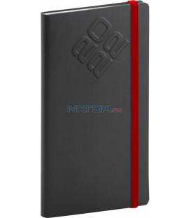 Vreckový diár Matra 2022 čierno–červený 9 × 155 cm
