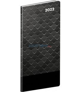 Vreckový diár Čierny kov 2022 plánovací mesačný 8 × 18 cm