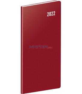 Vreckový diár Vínový 2022 plánovací mesačný 8 × 18 cm