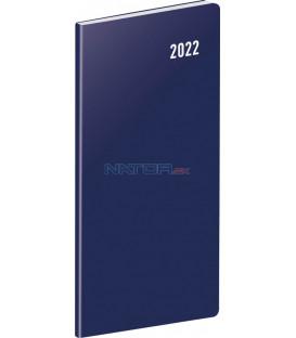 Vreckový diár Modrý 2022 plánovací mesačný 8 × 18 cm