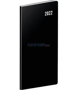 Vreckový diár Čierny 2022 plánovací mesačný 8 × 18 cm