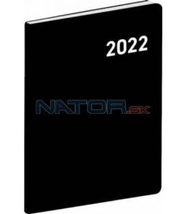 Vreckový diár Čierny 2022 plánovací mesačný 7 × 10 cm